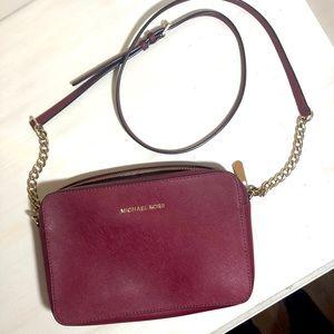 Michael Kors Maroon Leather Crossbody Bag